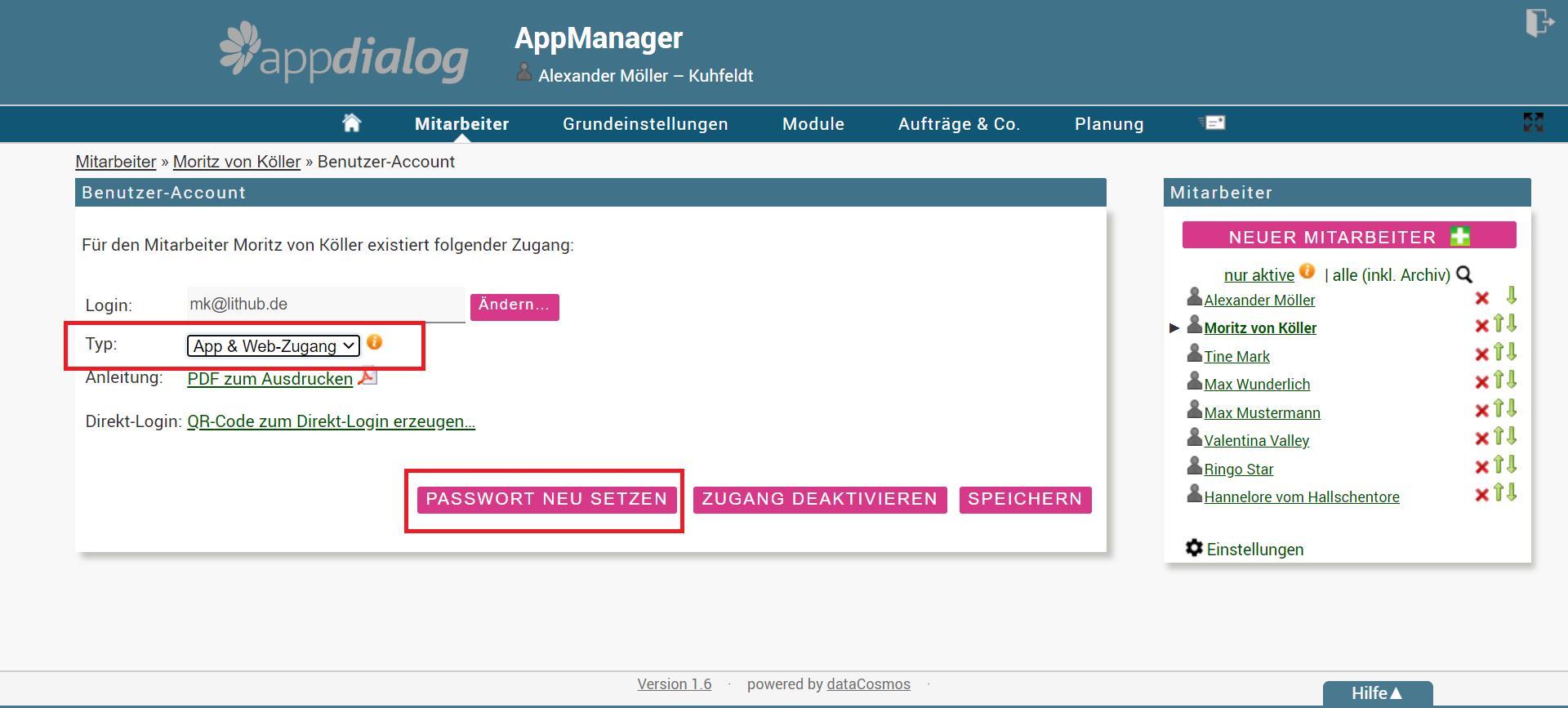 Benutzer-Account in der Webadministration aktvieren