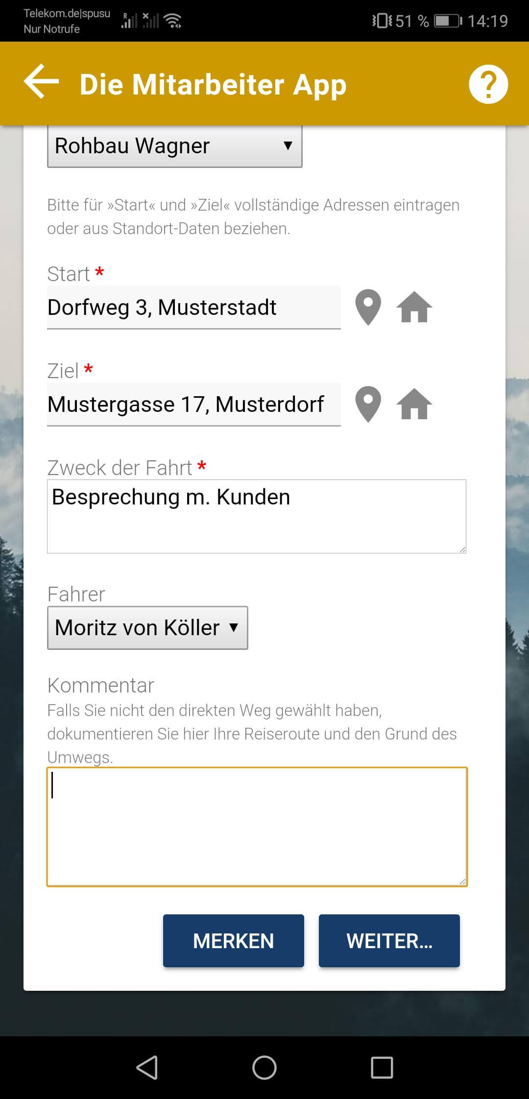 Datenerfassung im finanzamt-konformen Fahrtenbuch der appdialog Mitarbeiter App  2
