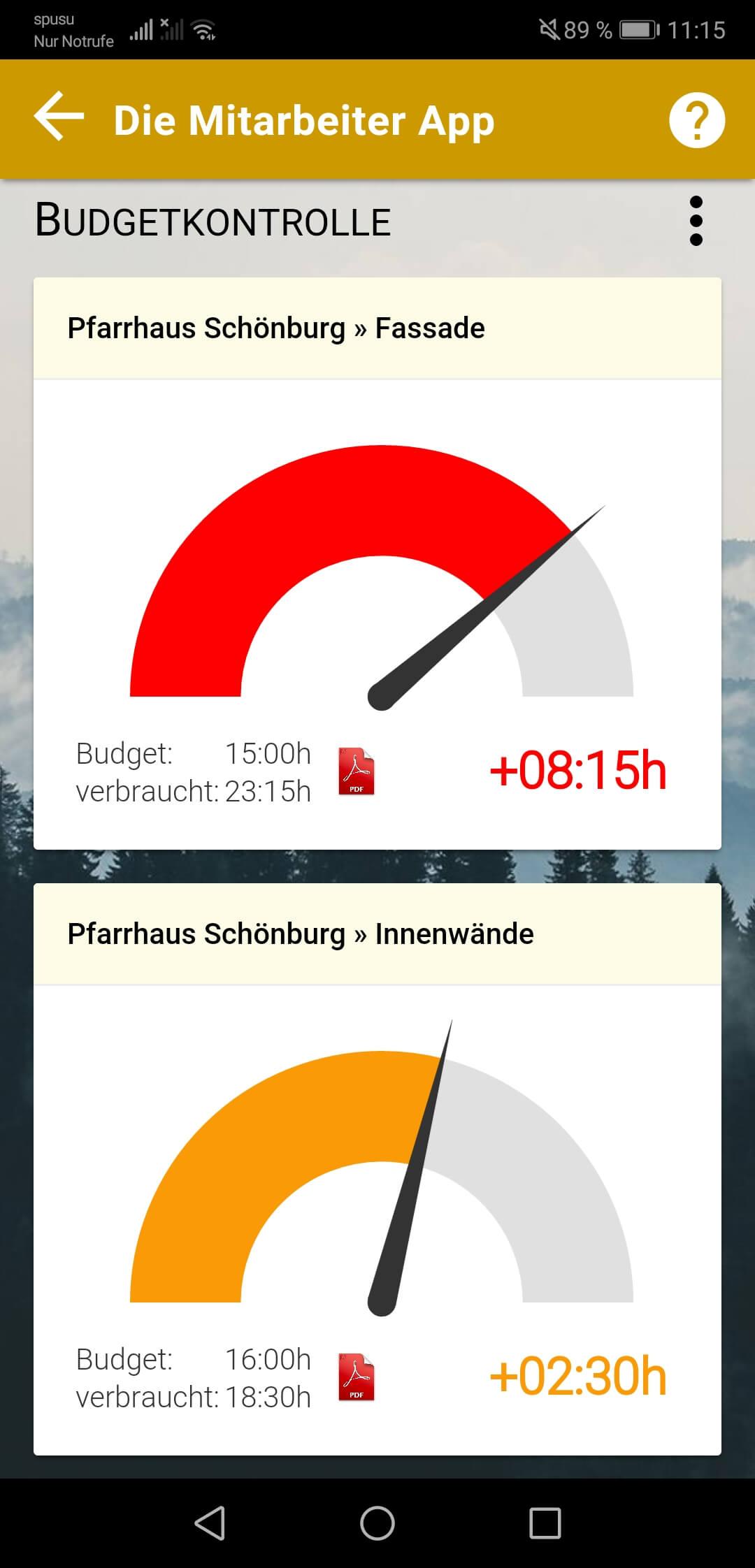 Grafische Darstellung der Zeitbudgets im Admin Bereich der App 2