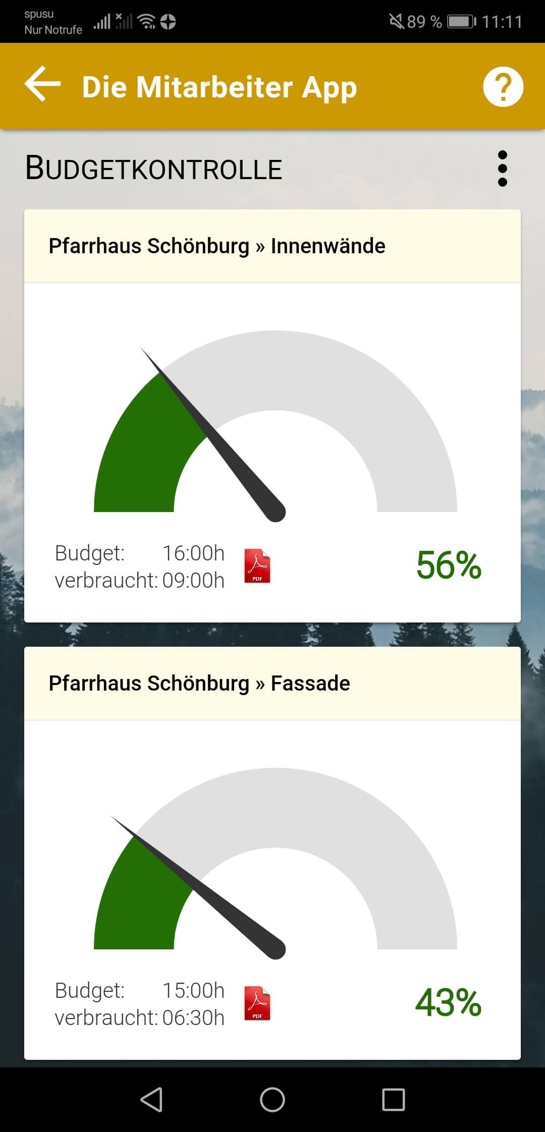 Grafische Darstellung der Zeitbudgets im Admin Bereich der App