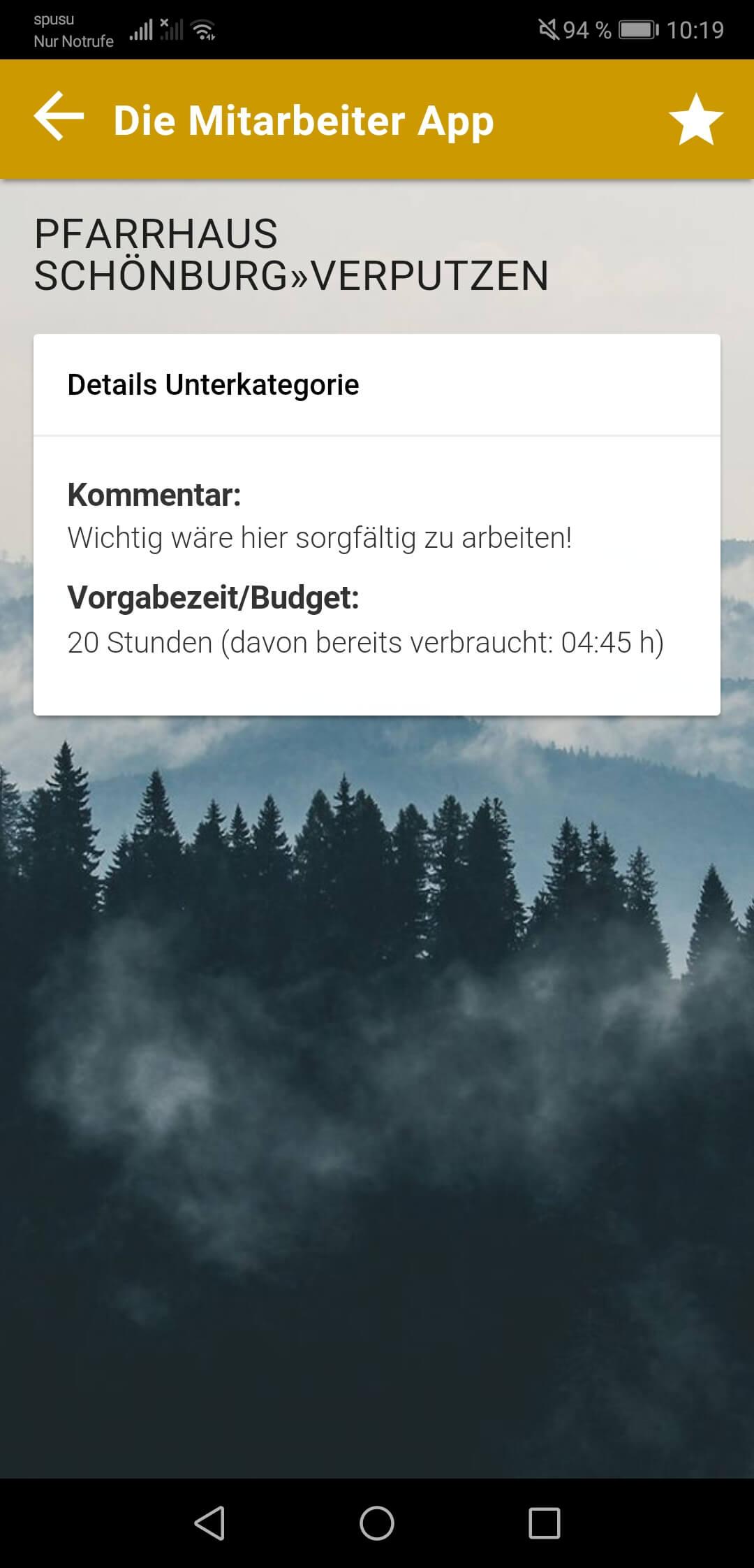 Zeitbudgets für Unterkategorien in der App
