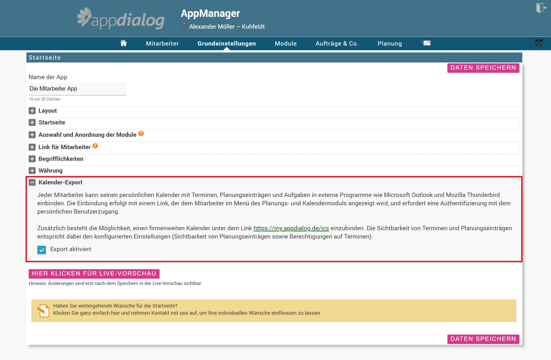 Aktivierung des Kalender Exports in der Web-Administration