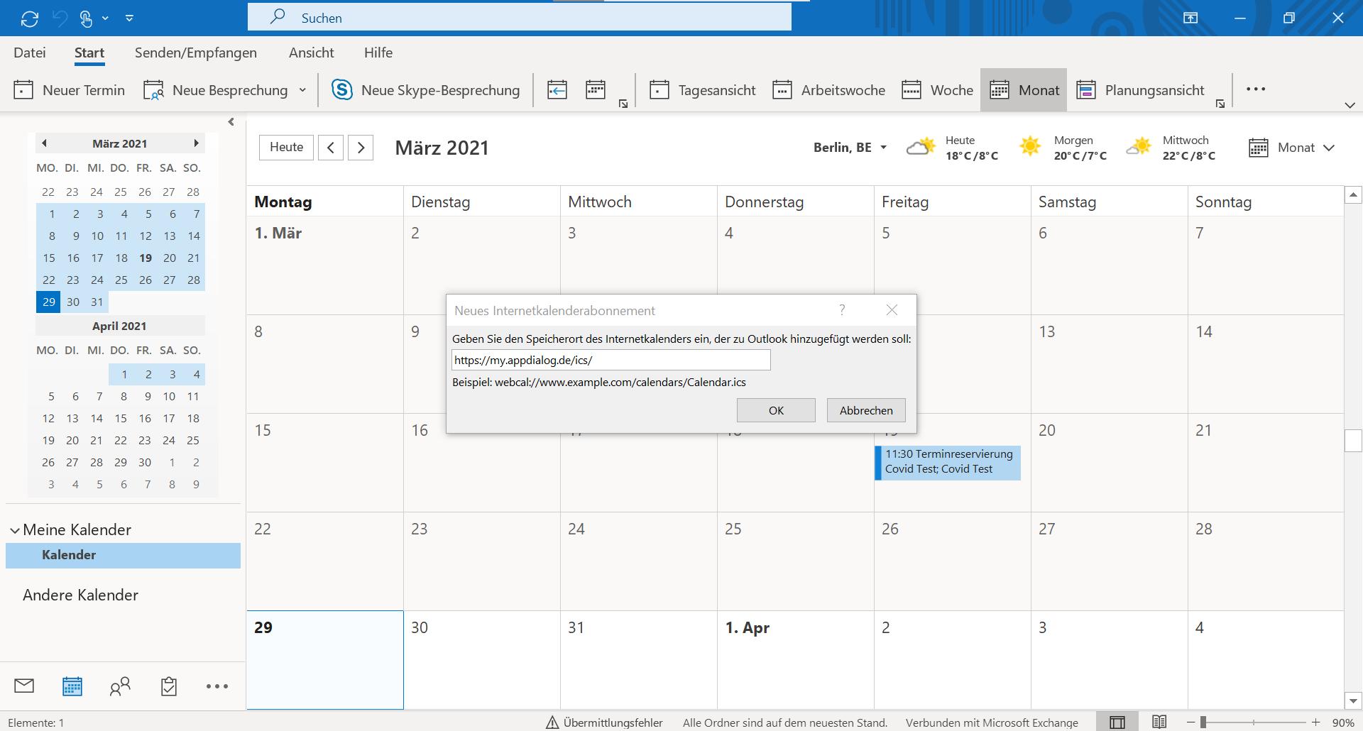 Erster Schritt: Kalenderintegration mit Outlook