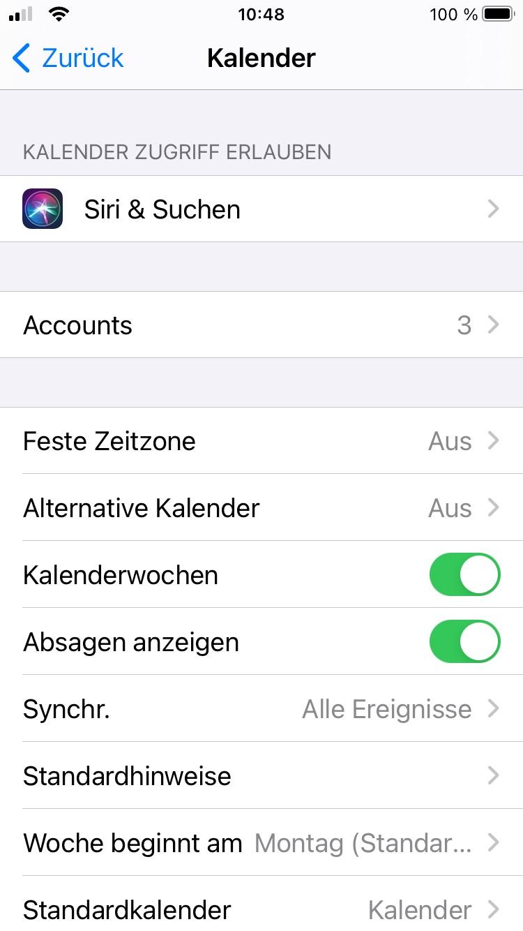 Zweiter Schritt: iOS Kalender