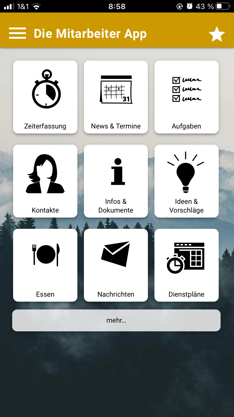 Den Dienstplan in der appdialog Mitarbeiter App als Kachel platzieren
